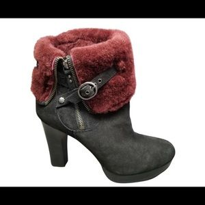 UGG black suede and maroon fur ankle booties